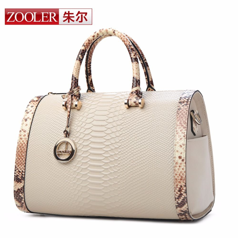 7a03b06b56 ZOOLER bags handbags women famous brands shoulder messenger bags genuine  leather handbags Boston pillow Serpentine grain bag