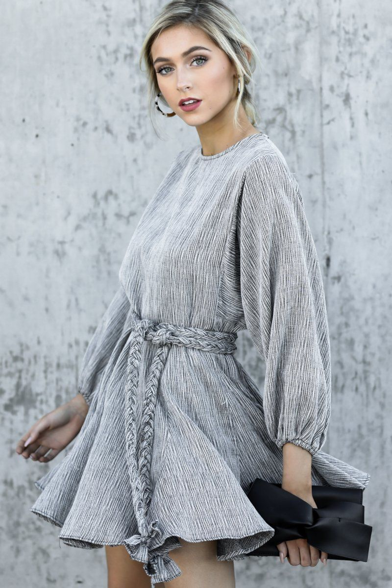 48804b0c1f4ac Stunning Grey Belted Dress - Long Sleeve Dress - Dress - $64.00 – Red Dress  Boutique