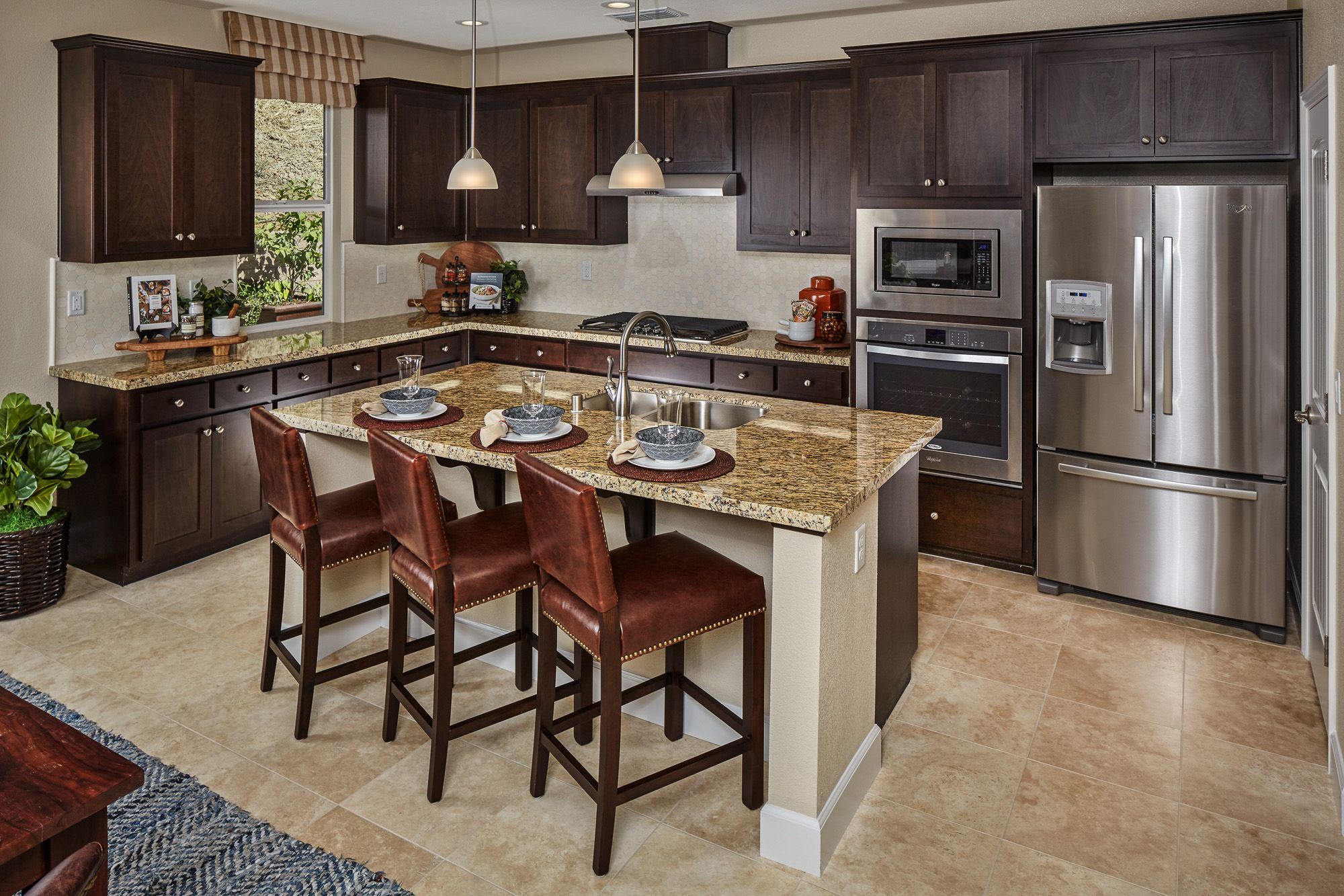The Willows Plan 1 Kitchendesign Granitecountertops Darkwoodcabinets With Images Home Kitchens Granite Kitchen Island New Homes For Sale