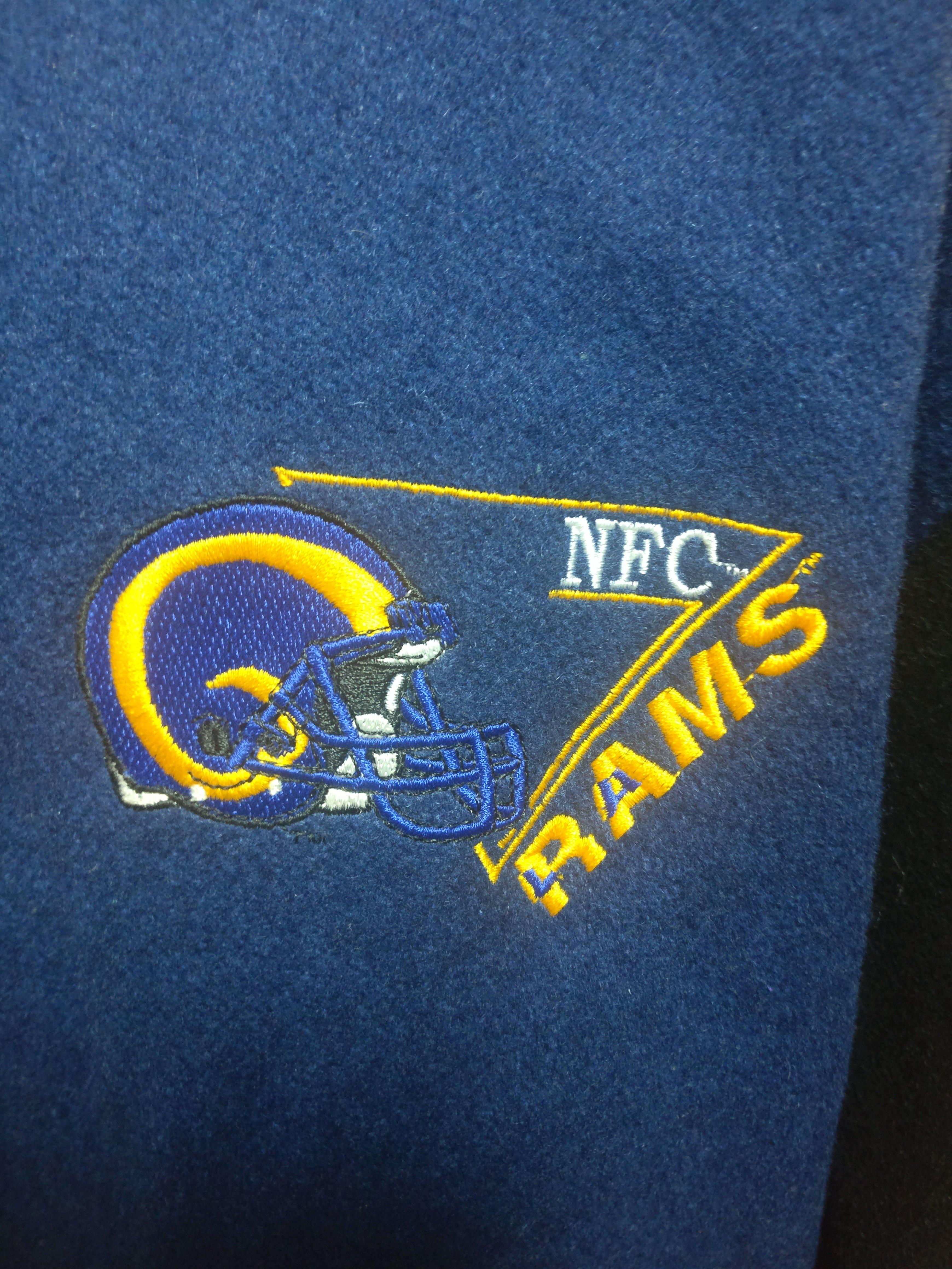 Vintage 90s Los Angeles Rams Nfl Back Patch Delong Varsity Jacket M Arm Cuff Back Patch Varsity Jacket