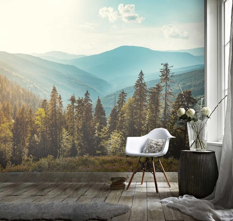 3d Pine Tree Mountain Scenery Wallpaper Removable Self Adhesive Wallpaper Wall Mural Vintage Art Peel And Stick Scenery Wallpaper Tree Mural Mural Wallpaper