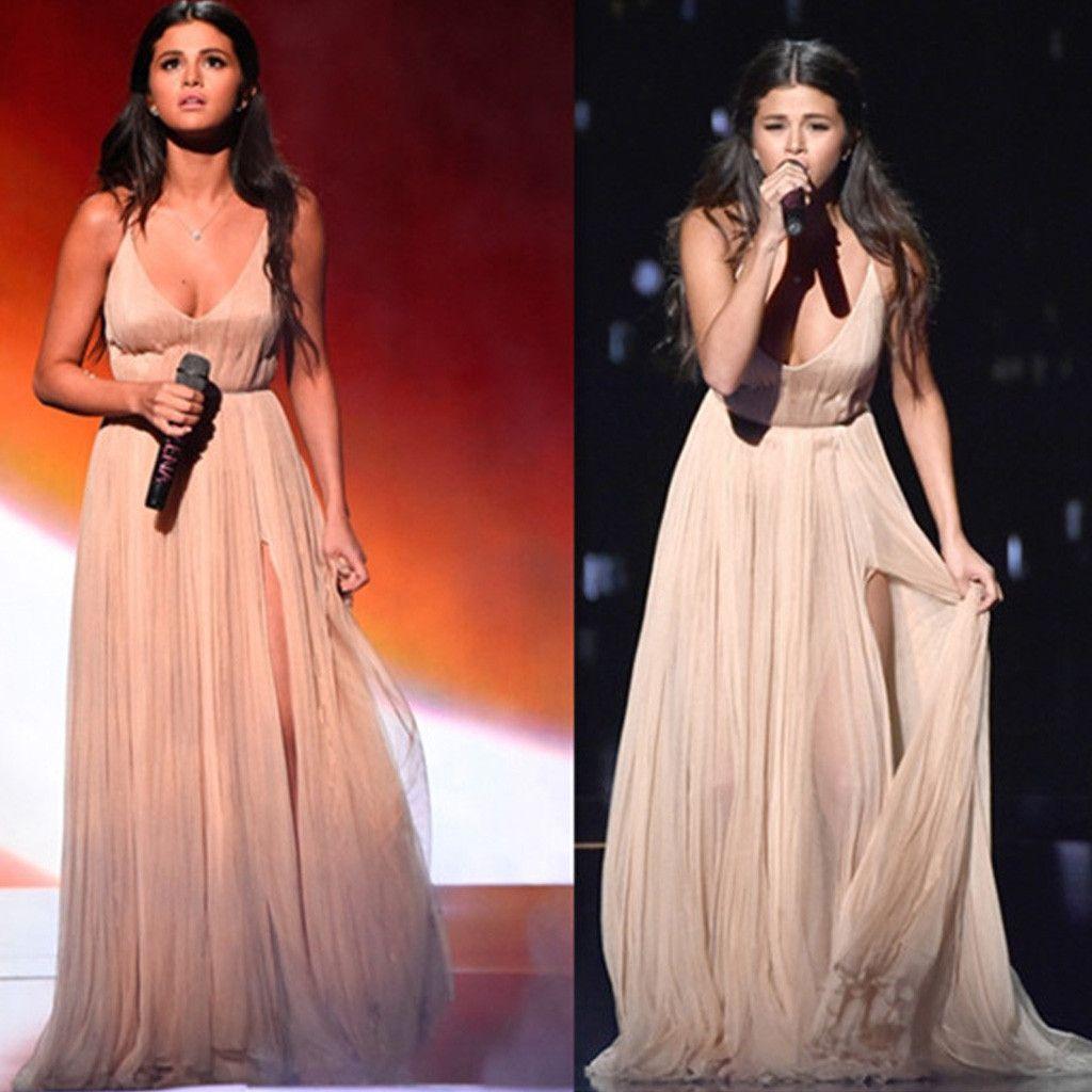 Selena gomez inspired sexy vneck long aline side slit chiffon prom