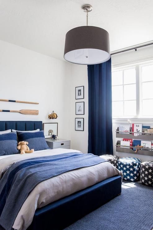 Kids Bedroom With A Blue Coastal Theme Displays A Gray