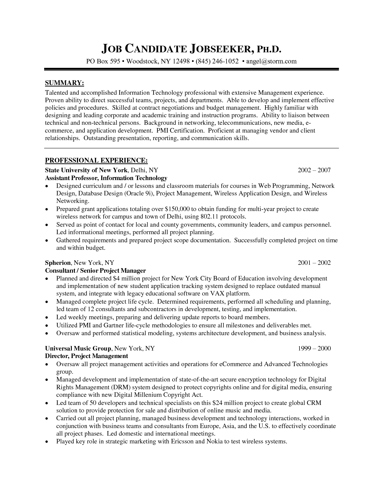 sample senior project manager resume - Roberto.mattni.co
