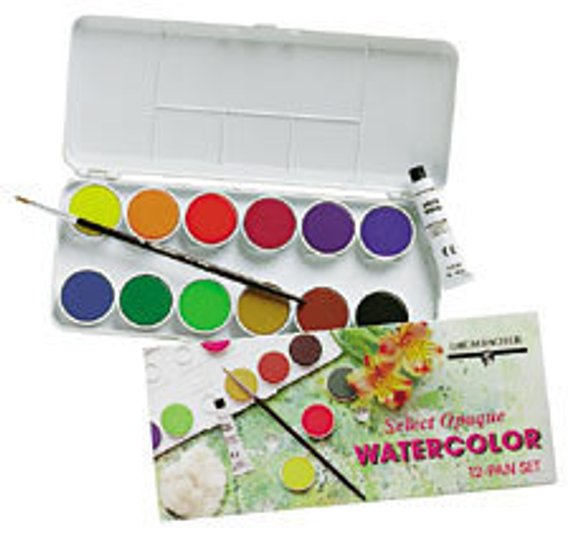 Watercolor Paint Fine Art Painting Travel Set 12 Pan Kit Sable