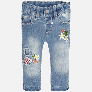 96e96377101 Pantalón largo bebé niña apliques parches flores | jeans | Ropa ...
