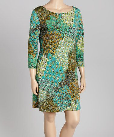 Another great find on #zulily! Green & Goldenrod Peacock-Plume Shift Dress - Plus #zulilyfinds