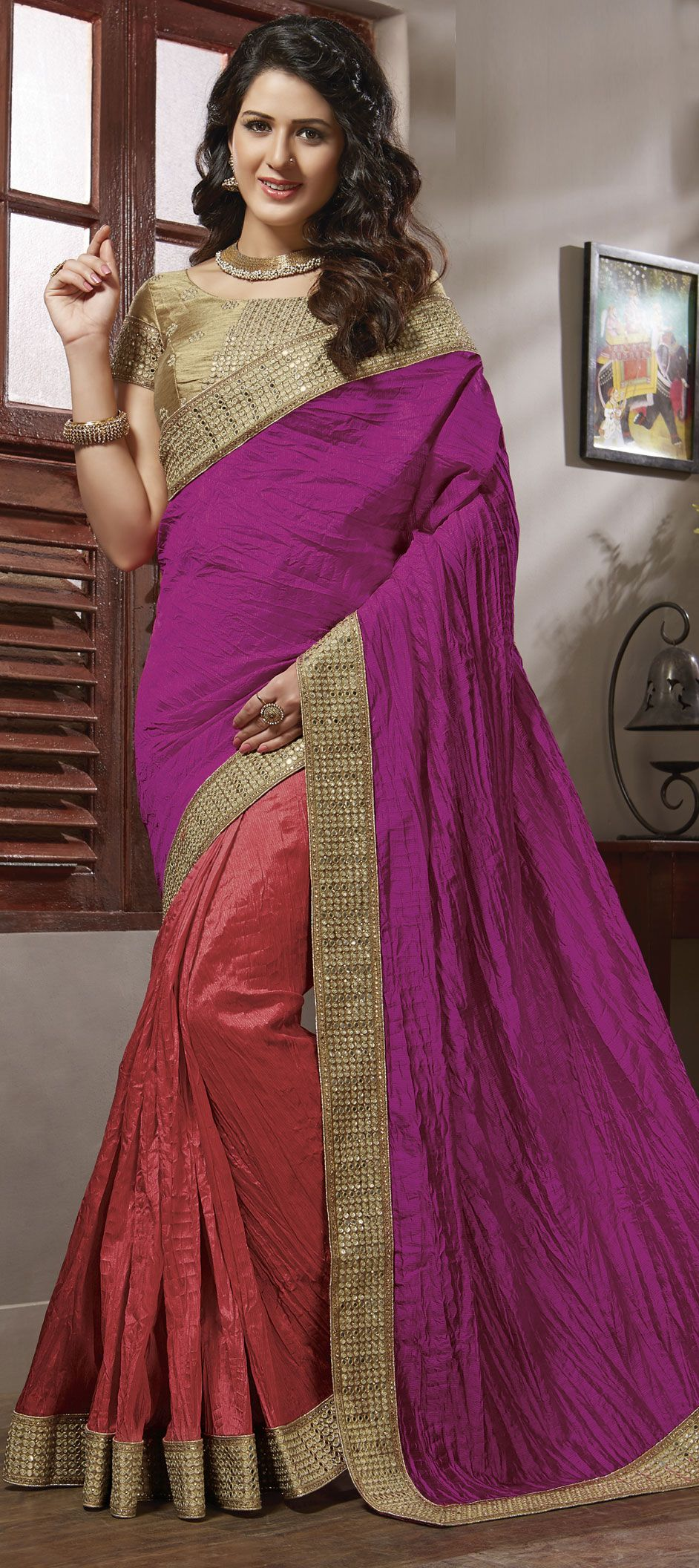 Pink and Majenta, Red and Maroon color family Embroidered Sarees ...