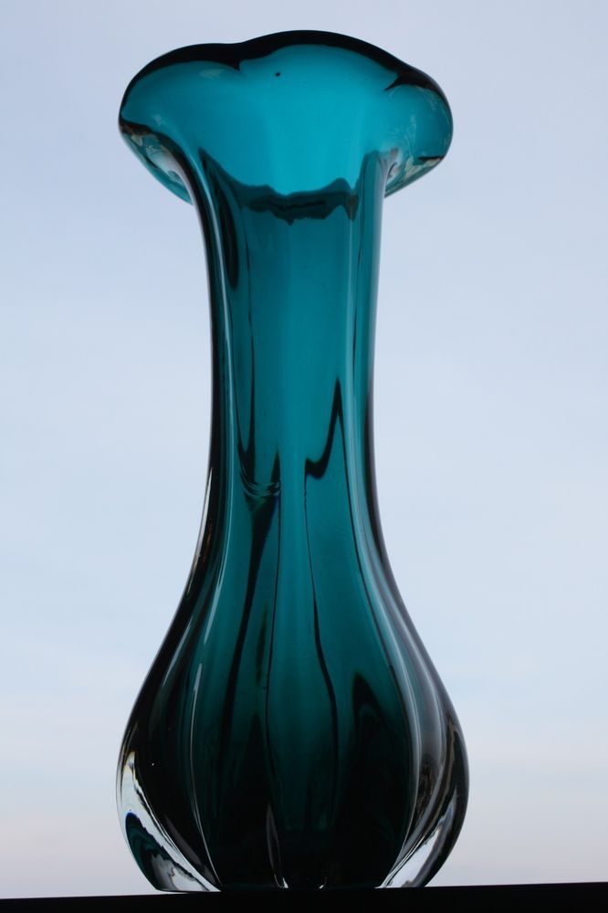 Vintage Hand Blown Ultramarine Murano Glass Vase Home Decoration