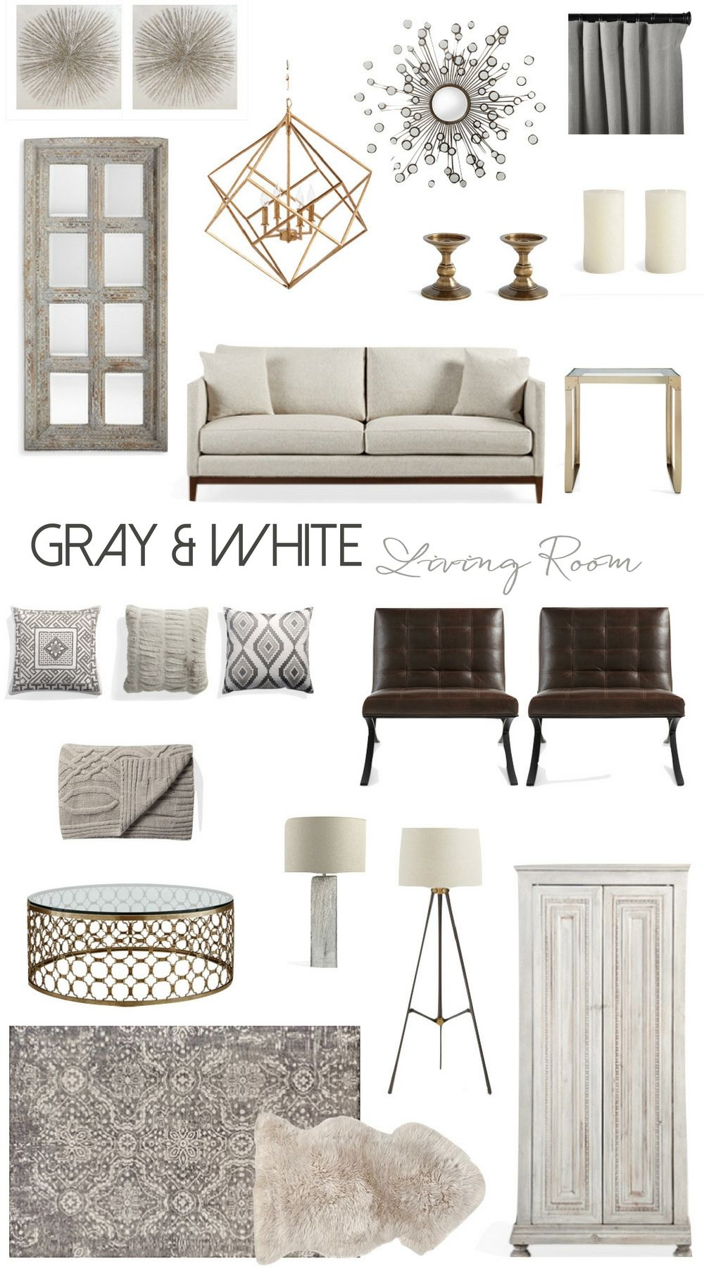 Living Room Inspiration Mood Board Featuring Living Room Ideas In Gray And White Brown And Blue Living Room Brown Living Room Decor Rustic Glam Living Room