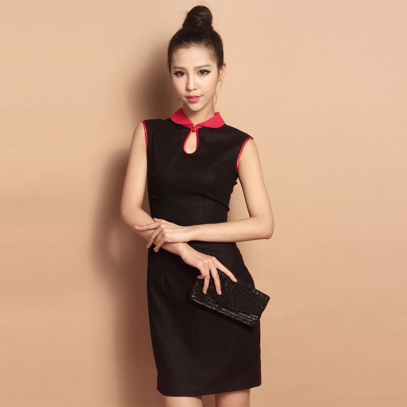 Custom Made Black Sleeveless Flax Short Cheongsam Qipao Dress - Qipao - Cheongsam - Women