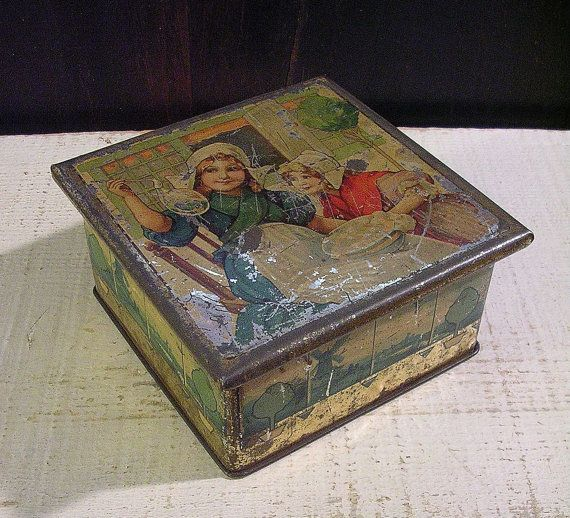 Antique Tin Box With Dutch Girls Blowing Bubbles In