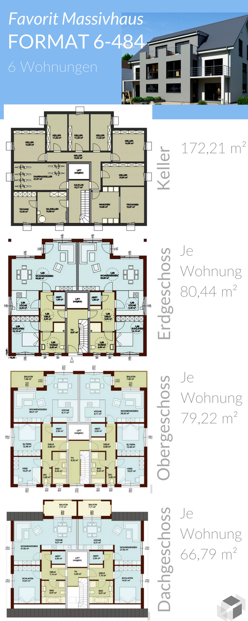 Mehrfamilienhaus mit 6 Wohnungen von Favorit Massivhaus