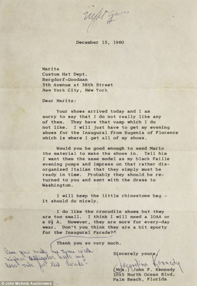 Letters from jackie kennedy to her personal shopper go up for letters from jackie kennedy to her personal shopper go up for auction spiritdancerdesigns Gallery