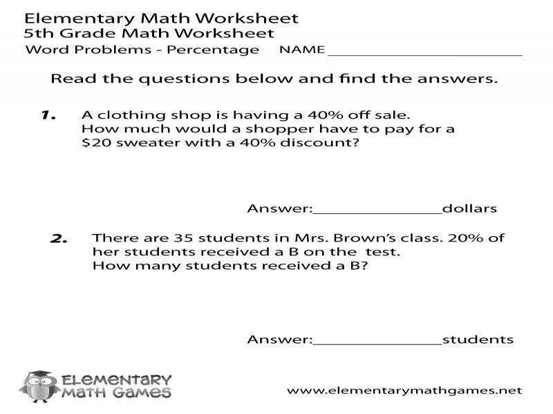 Fifth Grade Percentage Word Problems Worksheet On Percent Problems Worksheet In 2020 Word Problem Worksheets Math Words Word Problems