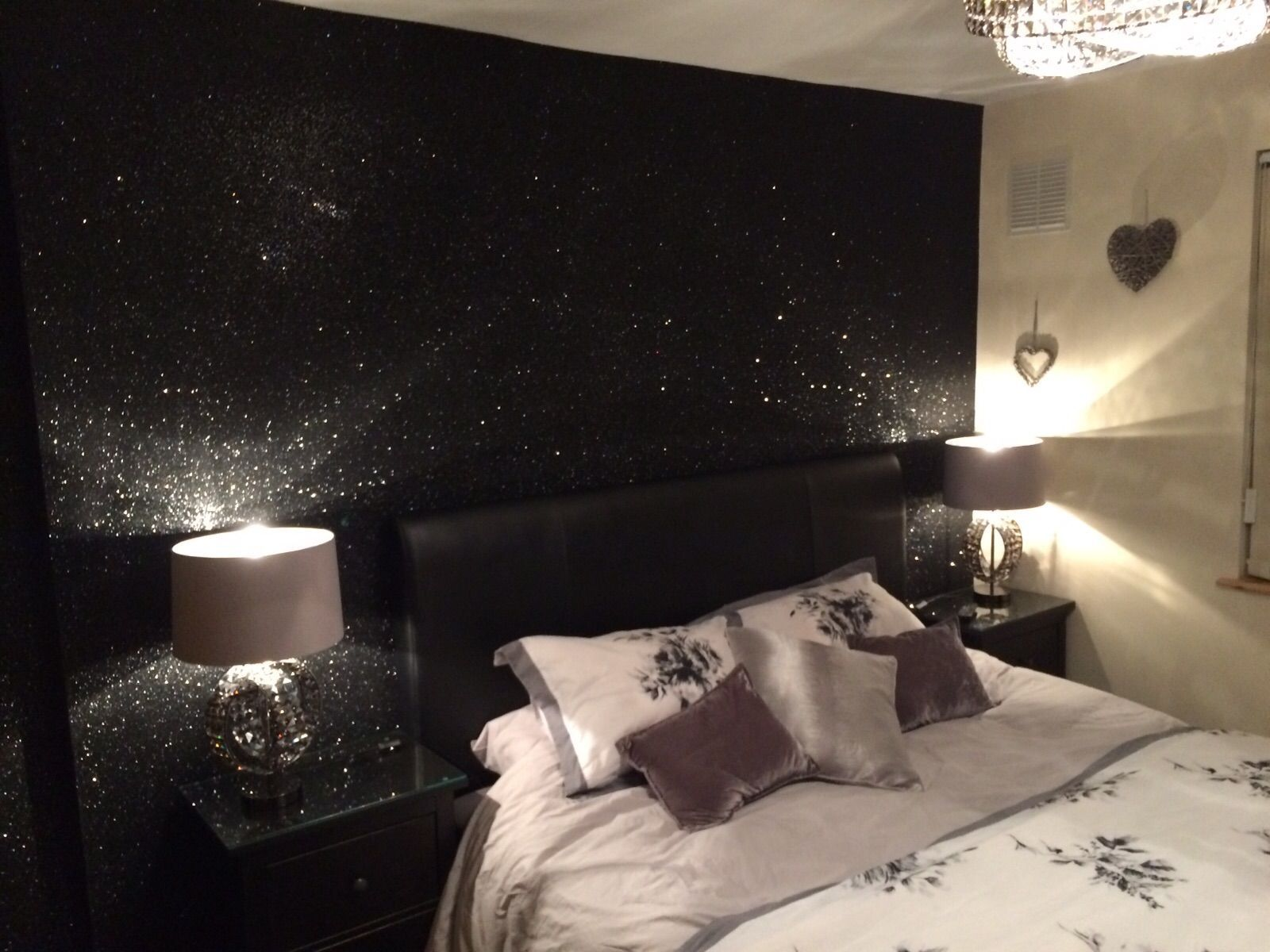 Glitter Sparkle Shades Of Silver Black Authentic Premium Quality Glitter Wallcovering 3 5 Days Glitter Wallpaper Bedroom Glitter Bedroom Glitter Room