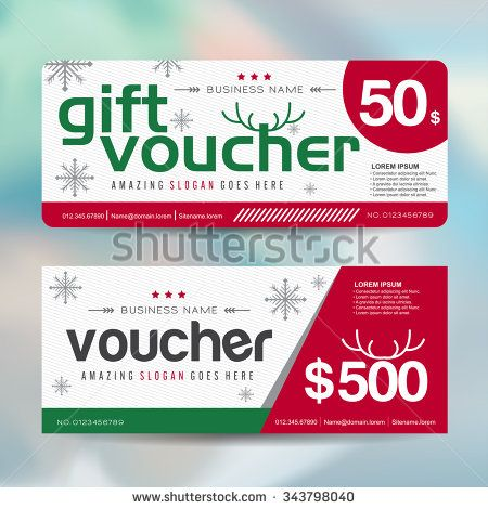 Gift Voucher Template With Christmas Colorful Patternmerry