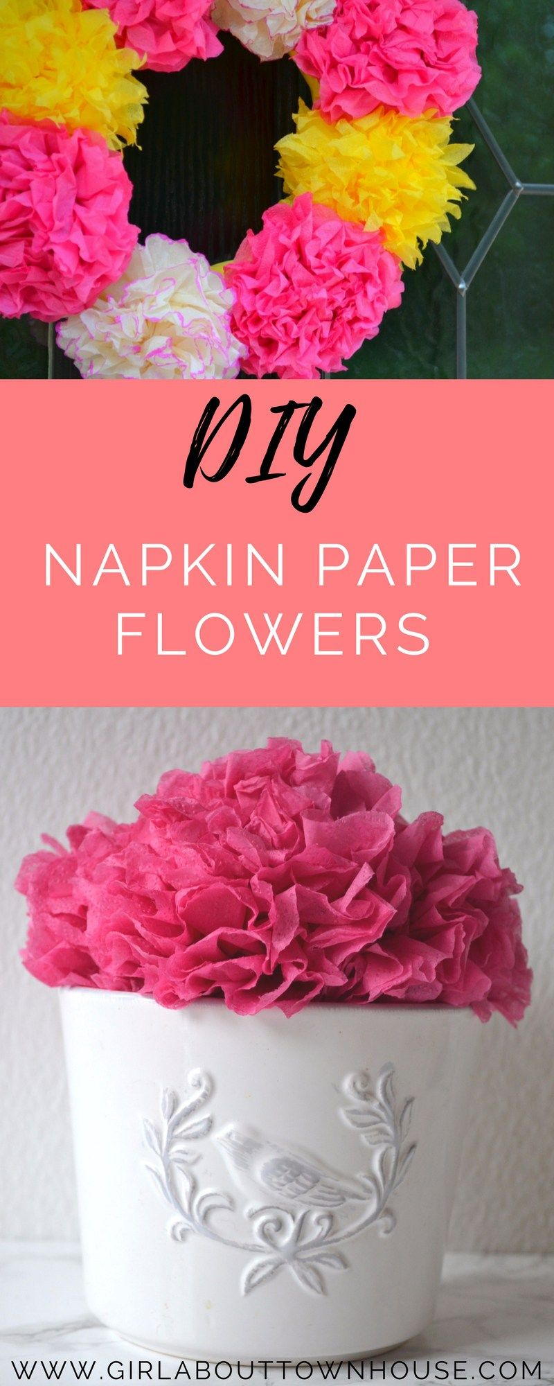 Flower making with napkins Wreaths u garlands  Crepe paper Tissue