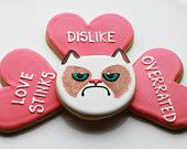 Grumpy Cat Valentine Cookies