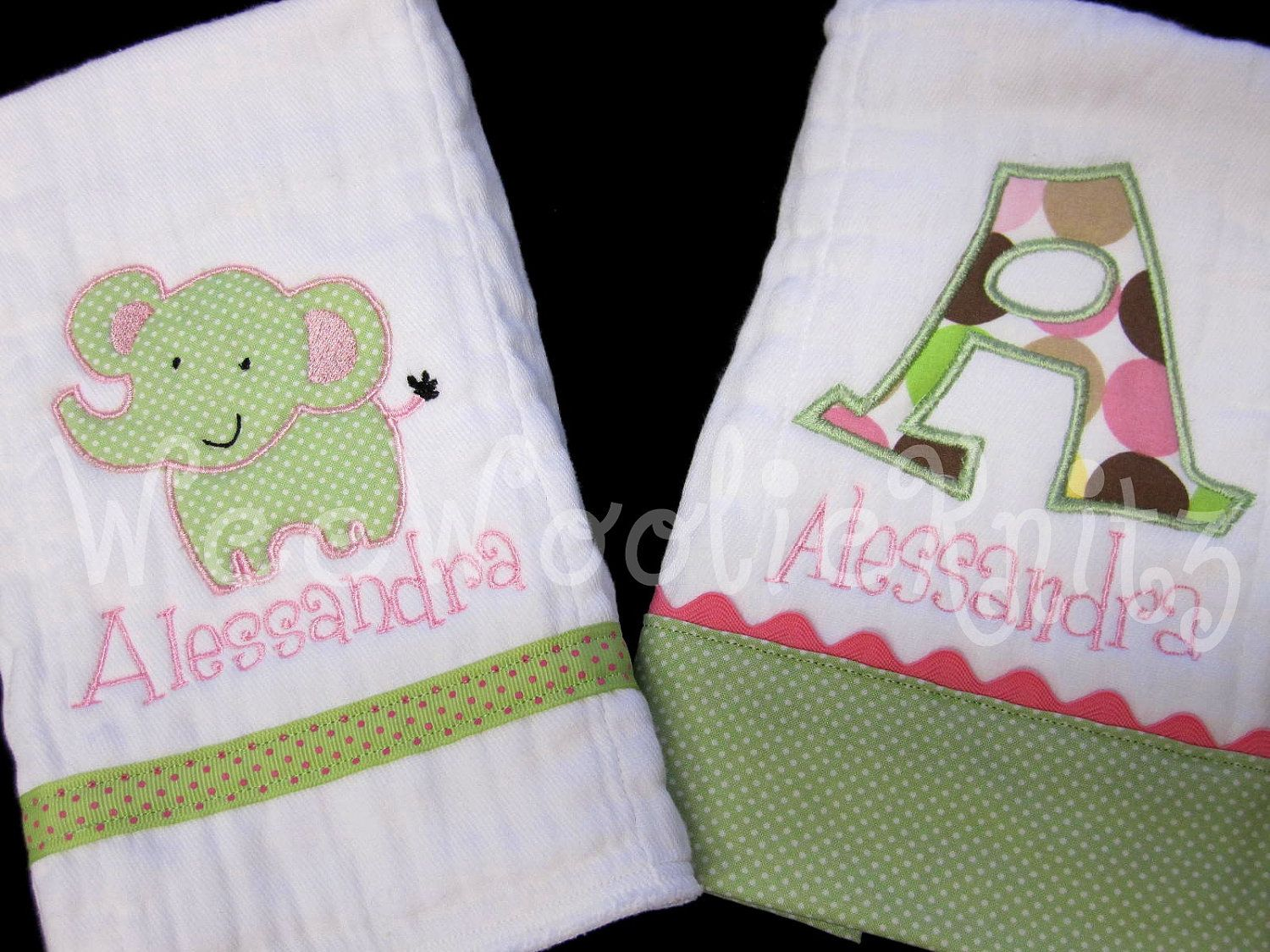 Personalized Elephant Burp Cloths Newborn Baby Girls Boutique Style Baby Shower Gift Jungle NurseryCustom Applique by WeeWoolieKnitz on Etsy https://www.etsy.com/listing/89632100/personalized-elephant-burp-cloths