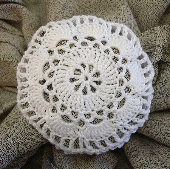 Hair Net / Bun Cover Crocheted White Flower Style Amish Mennonite ...