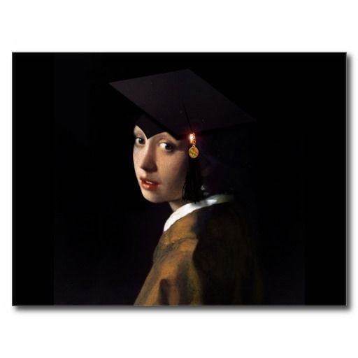 Girl With The Graduation Hat Pearl Earring Announcement Postcard Zazzle Com Graduation Hat Pearl Earrings Pearls