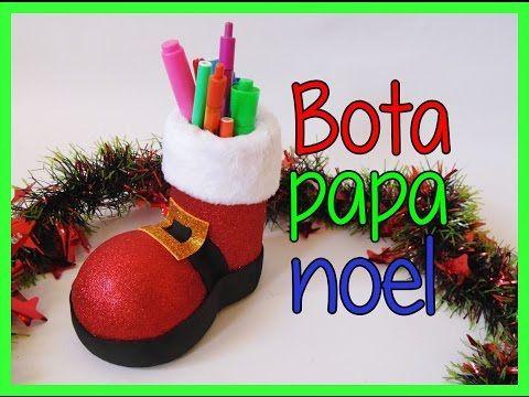 Bota de papa noel santa claus portalapices - Papa noel manualidades ...