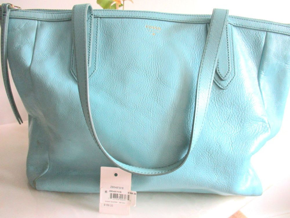 492d2dc4331d sky Blue FOSSIL SYDNEY Shopper Tote Shoulder Bag Handbag Zip Top Dual Strap   Fossil  Tote