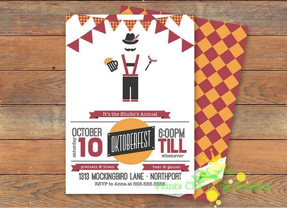 Oktoberfest Invitation German Beer Brats lederhosen Party – Oktoberfest Party Invitations