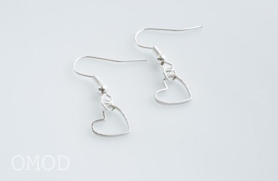 Dangle Heart Earrings Silver Small By Omod