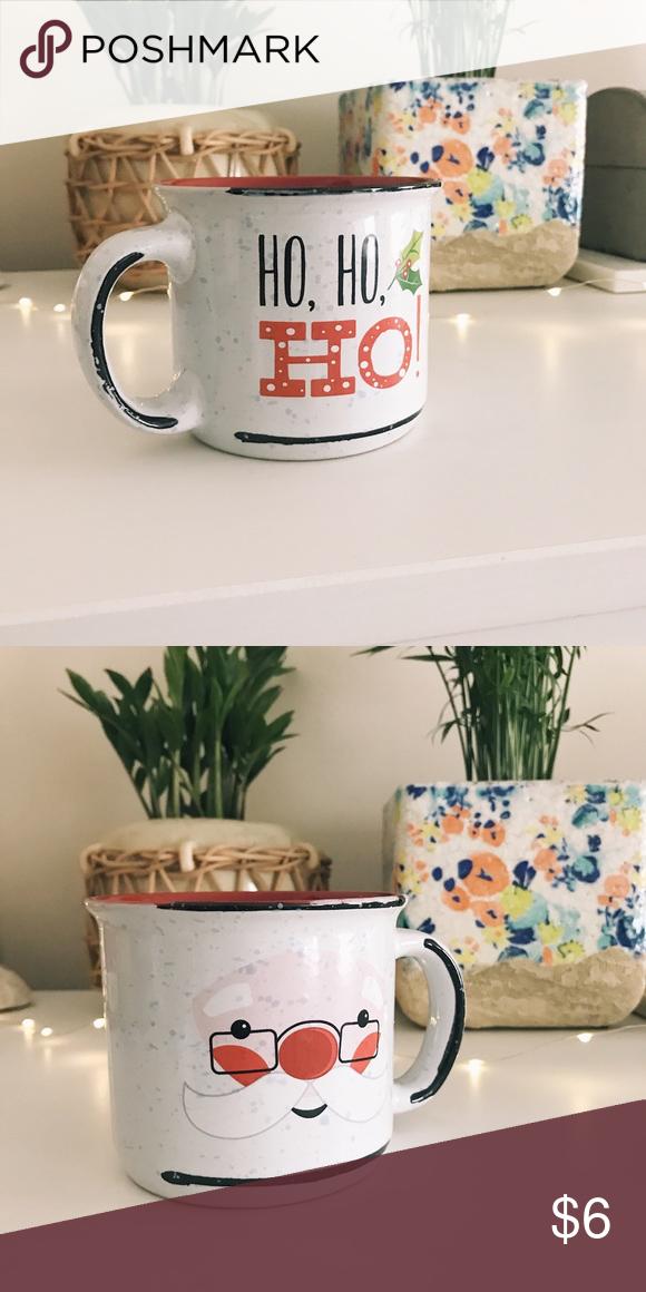 Christmas Santa Coffee Mug - Christmas holiday Coffee Mug - Santa Ho, Ho, Ho design  - Speckled cup - Dish ware  - Like new - Gift ideas Accessories #dishware