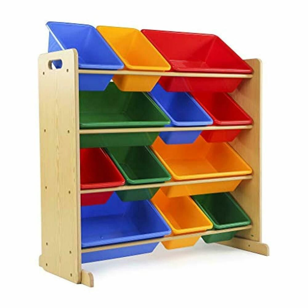 Toy Storage Organizer 12 Plastic Bins Natural Primary Kids Unbranded Toy Storage Organization Kid Toy Storage Toy Storage