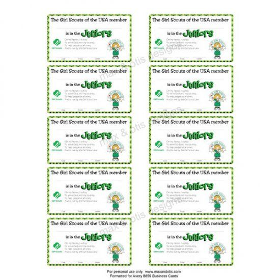 photo relating to Printable Membership Cards named Female Scout Juniors printable subscription playing cards for