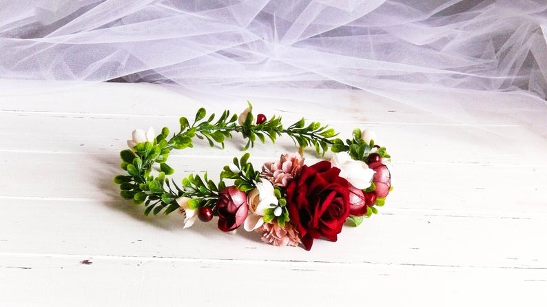 Flower Girl Headpiece, Tiara Crown Red, Floral Crown Burgundy, Flower Headband Burgundy, Flower Head Wreath, Flower Girl Crown, Bordo Tiara #flowerheadwreaths