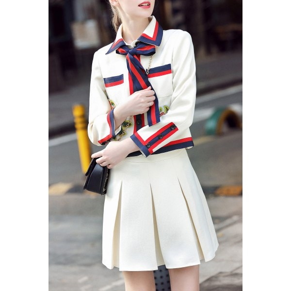 98.46$  Watch now - http://di8lz.justgood.pw/go.php?t=199790907 - Bow Tie Embroidered Jacket with Flare Skirt 98.46$