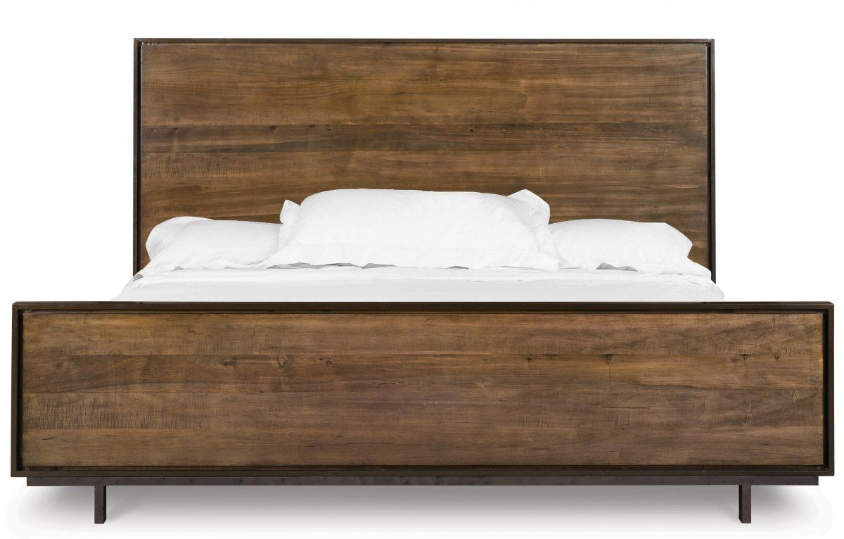 queen metal platform bed frame decorated with brown wooden - Wood And Metal Bed Frame