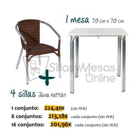 conjunto mesa y sillas terraza hosteleria