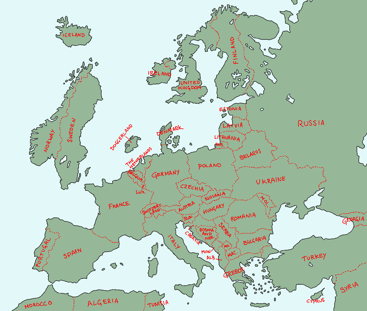 Map Of Europe But The British Isles And The Scandinavian Peninsula Have Switched Places Imaginary Maps Europe Map Psychedelic Illustration