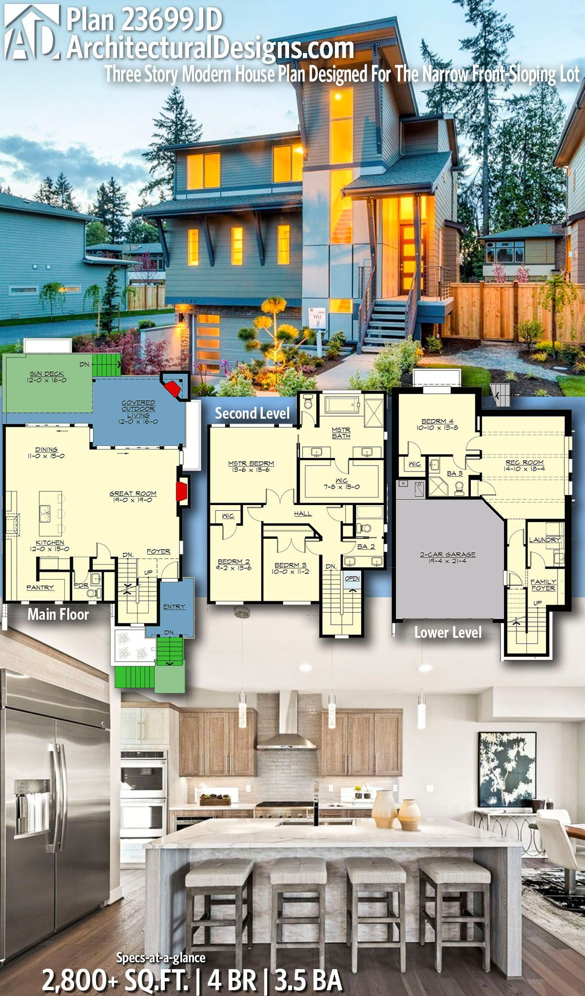 Plan 23699jd Three Story Modern House Plan Designed For The Narrow Front Sloping Lot Architectural House Plans Model House Plan House Construction Plan