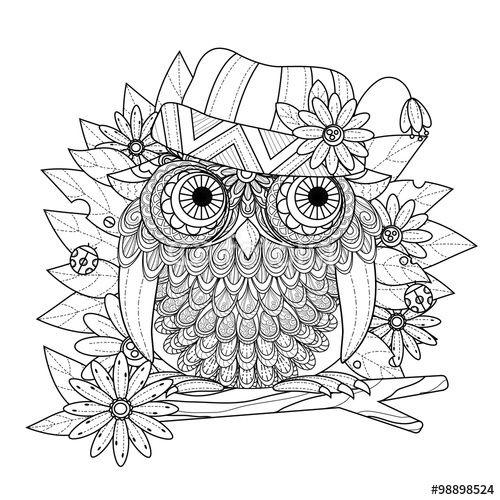 Vektor: lovely owl coloring page | Zentangle patronen | Pinterest ...