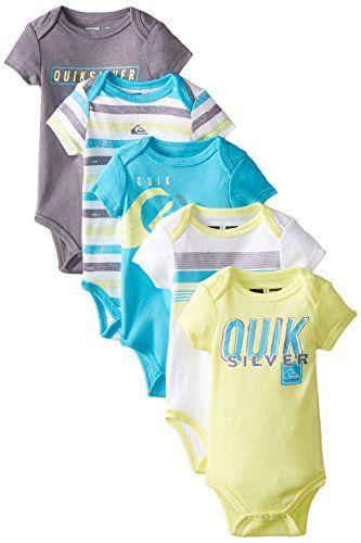 55056cd8b Quiksilver Baby-Boys Newborn 5 Pack Aqua Yellow Gray Bodysuit, http://
