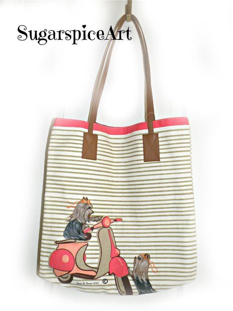 Yorkie Hand Painted Tote Beach Bag Purse Handbag Original Art by SugarspiceArt