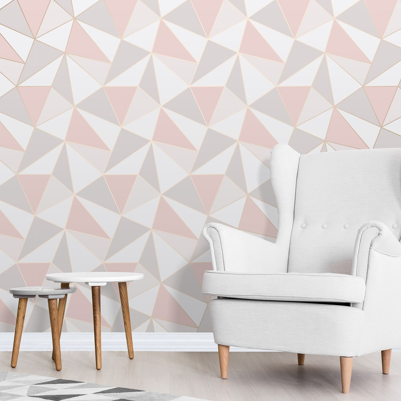 Apex Geometric Wallpaper Rose Gold / Pink Fine Decor