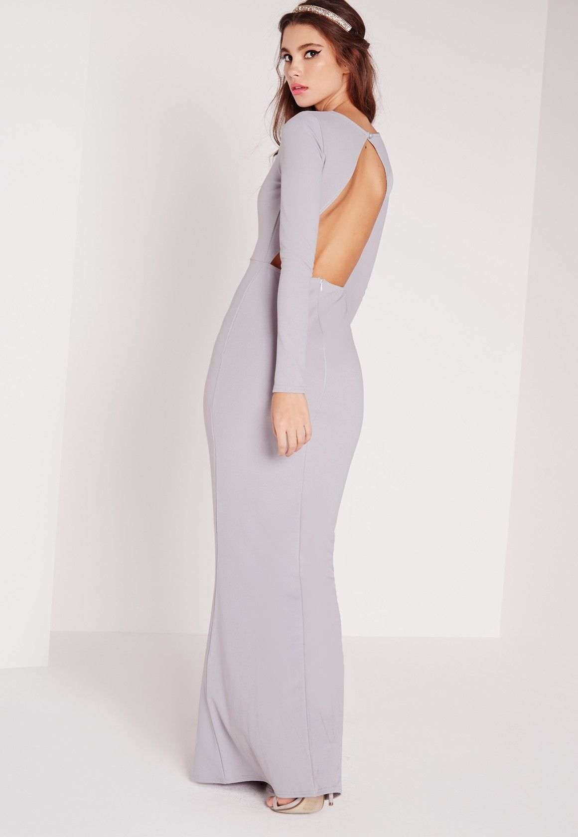 e190ce3a34 Missguided - Long Sleeve Open Back Maxi Dress Grey