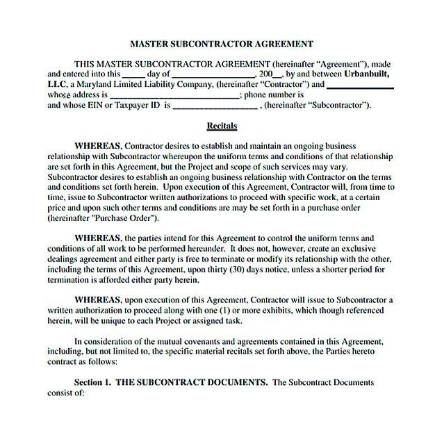 Subcontractor Agreement for Service , 11+ Subcontractor Agreement - subcontractor contract template