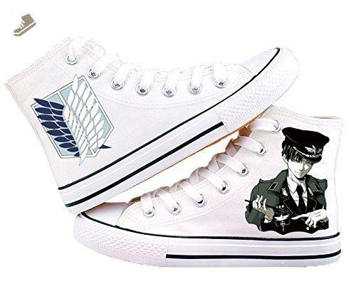 Attack on Titan Shingeki No Kyojin Levi Ackerman Shoes Canvas Shoes Sneakers White/Black