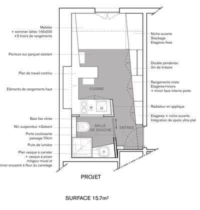 am nagement studio paris 12 16m2 fonctionnel et contemporain tiny paris pinterest agence. Black Bedroom Furniture Sets. Home Design Ideas