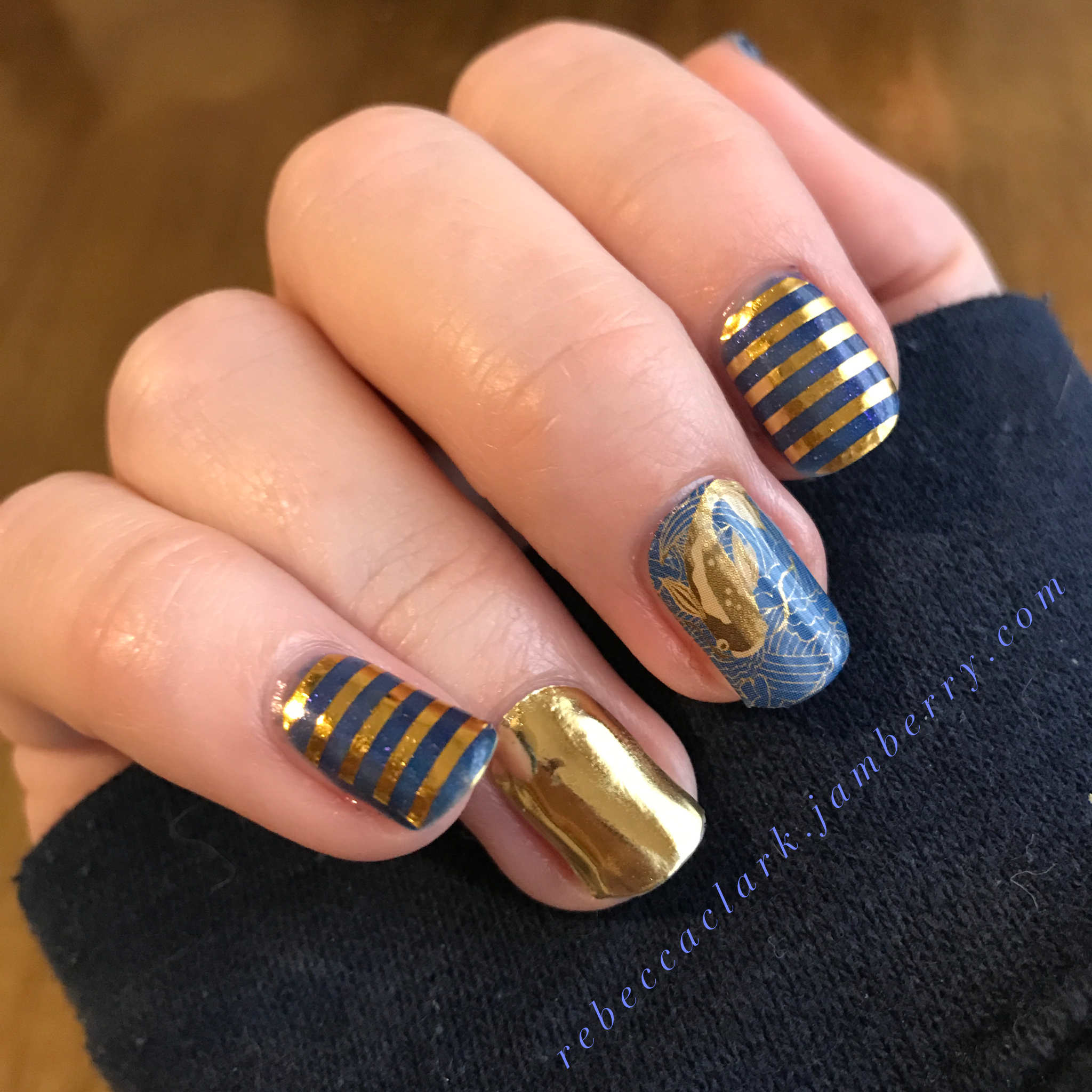 Metallic gold and blue mani with koi fish nail art | DIY Manicures ...