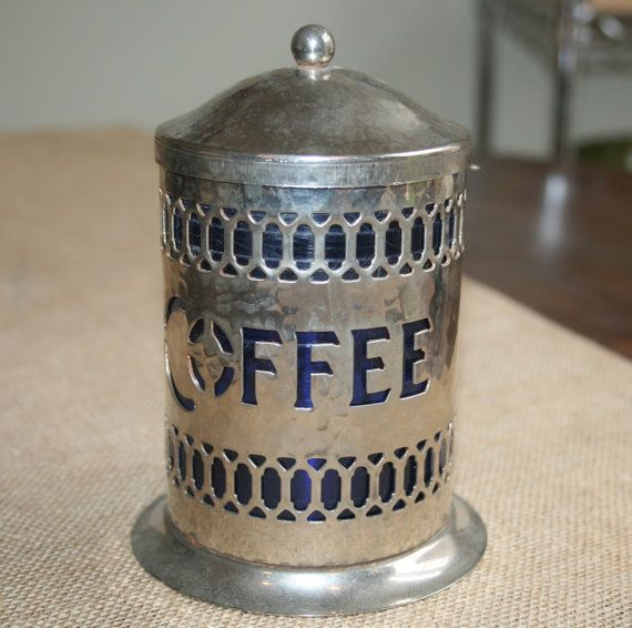 Vintage English Coffee Canister Silver Hammered Metal Blue Plastic Liner