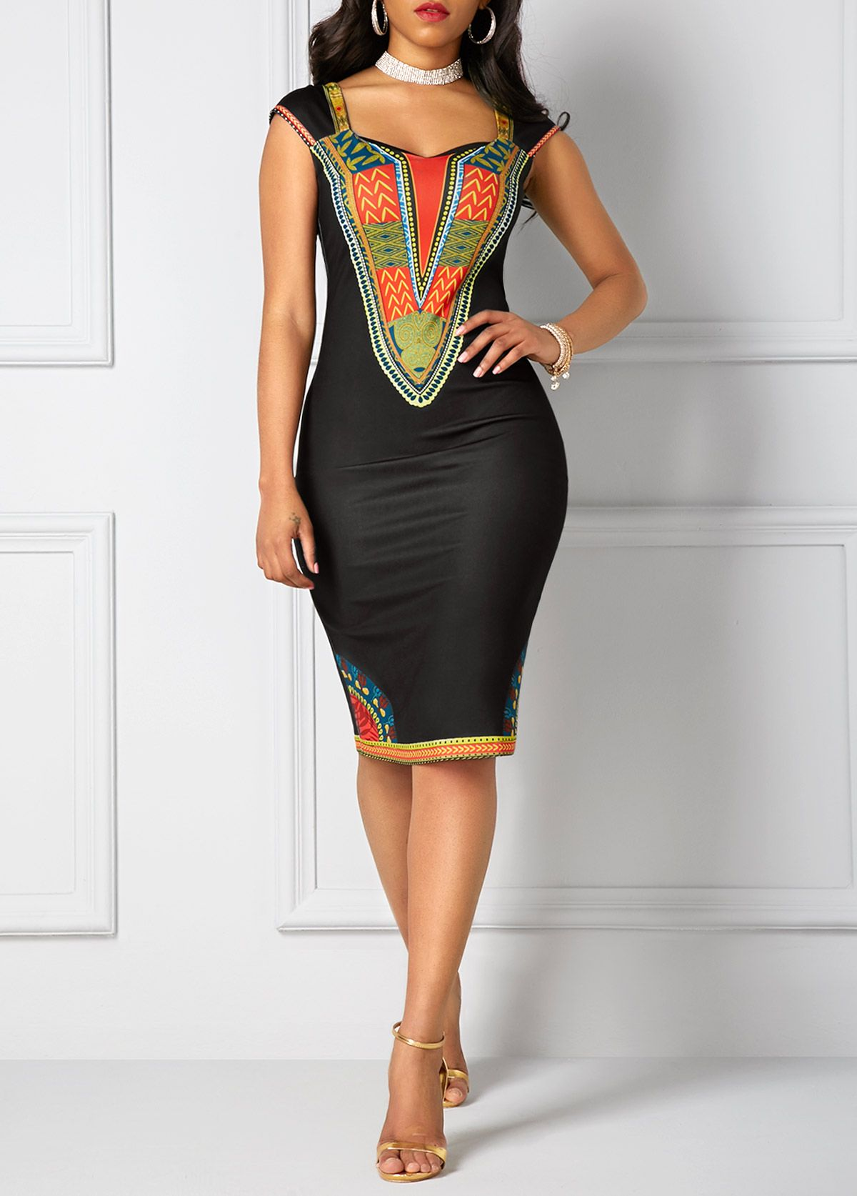 Dashiki Print Black Open Back Sheath Dress On Sale Only Us